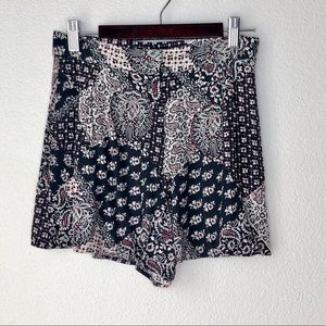 Top Shop red & black floral shorts. Size 4.